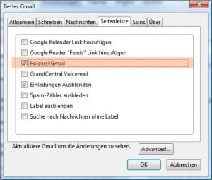 "Hier ""Folders4Gmail"" aktivieren"